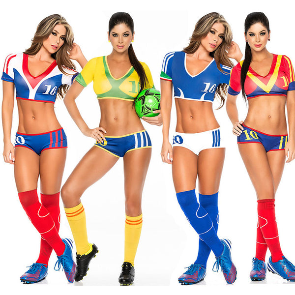 2018 Sexy Girl Football Baby Cheerleader Costume 11 Country Brazil German France Spain Italy Cheerleader Uniform