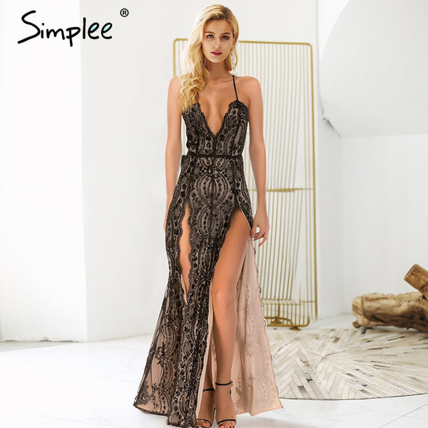 84c43cc251 Simplee Sexy backless halter sequin party dresses summer Front side sp