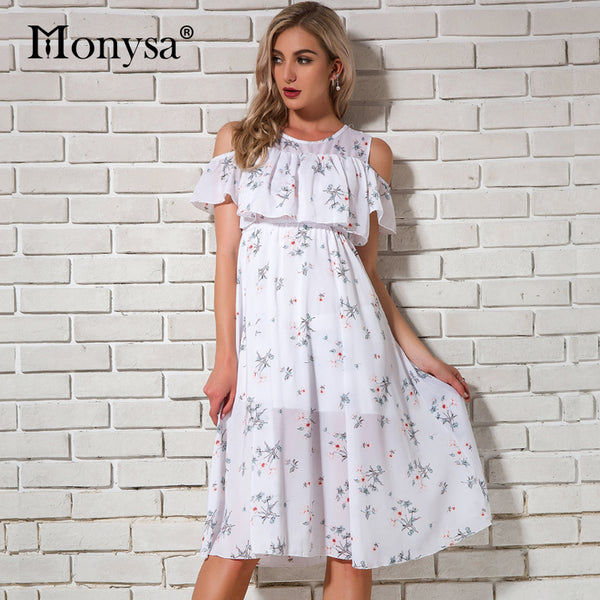 Cold Shoulder Dresses For Women Summer 2018 New Arrivals Floral Print Chiffon Dresses Women Knee Length Dress Casual Streetwear