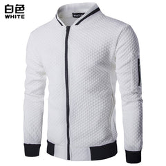 Men's Hoodie 2018 Male Brand Casual Zipper Jacket Stand-Neck Sudaderas Hombre High-Grade Sweatshirt White 3D Plaid Tracksuit XXL