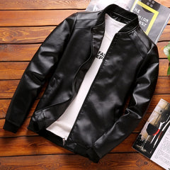 Thoshine Brand Leather Jacket Men Fashion Style Spring Autumn PU Leather Coats Overcoat Male Casual Slim Fit Leather Jacket Tops