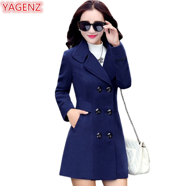 5e701bf34 YAGENZ Blends Woolens Overcoat Female Coat Autumn Winter Coats And Jac