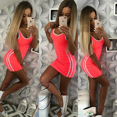 2018 Summer Package Hip Dress Women Solid Knitted Sexy Dress Casual O-neck Sleeveless Bodycon Dress Women Plus Size vestidos