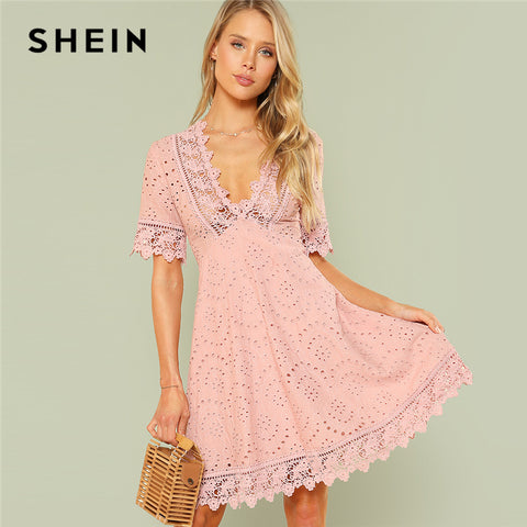 4c822f19623c SHEIN Pink Vacation Boho Bohemian Beach Contrast Lace Trim Eyelet  Embroidered High Waist V Neck Dress