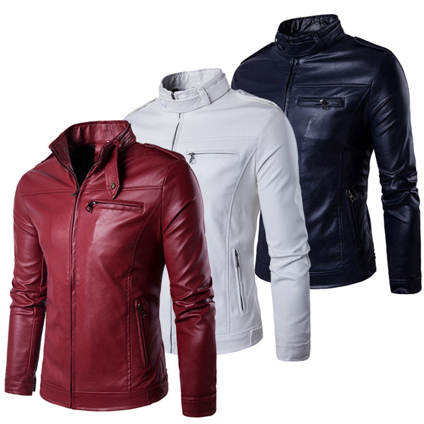 premium selection fashion styles get new Grey Brown Black Navy Burgundy Red White 2018 Spring Leather Jacket Men  Plus Size 5XL Soft PU Zipper Up Design