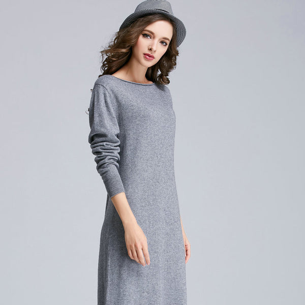 Women Long Sweater Dress 2018 Spring Autumn A Head Neck Sweater Dress