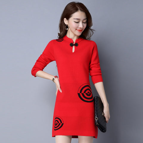 82c9b2c210 Fashion 2017 Women Autumn Winter Sweater Dresses Slim hollow neck Sexy Knitted  Dress