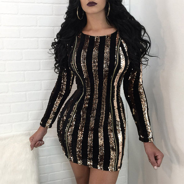 4465ea6661b0b Autumn Winter gold silver Round neck Long Sleeve Dress 2018 Sexy verti