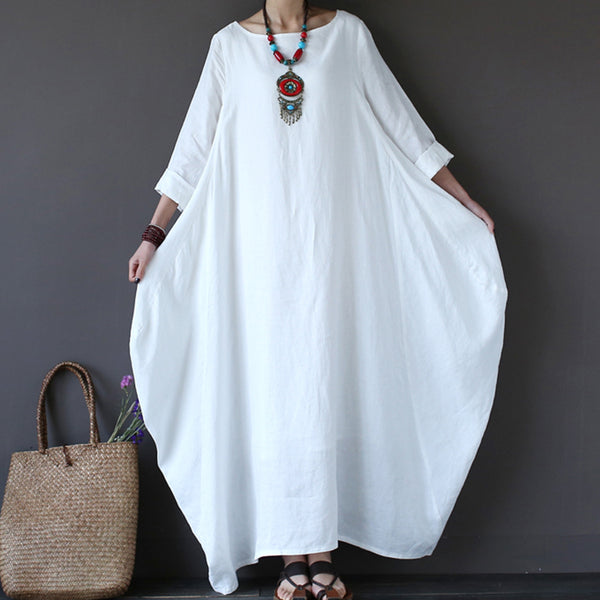 complete in specifications online store amazing price 4XL 5XL Cotton Linen Summer Dress Plus Size Boho Loose White Long Maxi  Dresses Women Female 3/4 Batwing Sleeve Robe Dress