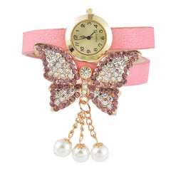 Doreen Box PU Leather Quartz Analog Wrist Watches Butterfly Animal White Imitation Pearl Clear Rhinestone Battery Included 1 Pc