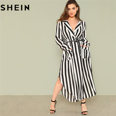 4c1063c19ec9 SHEIN Black And White Stripe V Neck Belted Plus Size Maxi Dress Spring Fall  Office Lady