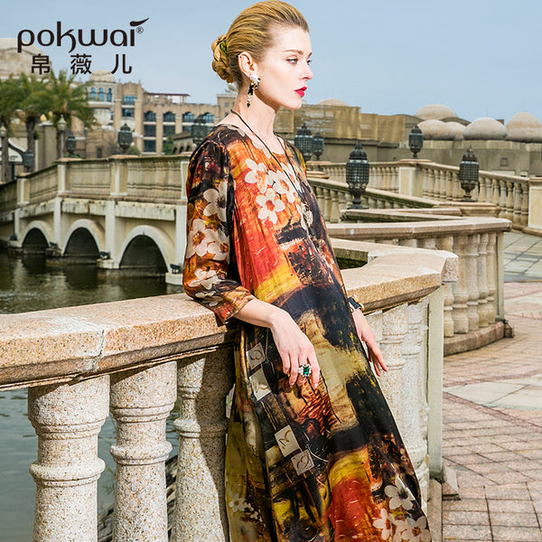 POKWAI Vintage Long Summer Silk Dress Women 2018 New Arrival High Qual