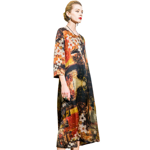 ... POKWAI Vintage Long Summer Silk Dress Women 2018 New Arrival High  Quality Fashion Three Quarter Sleeve