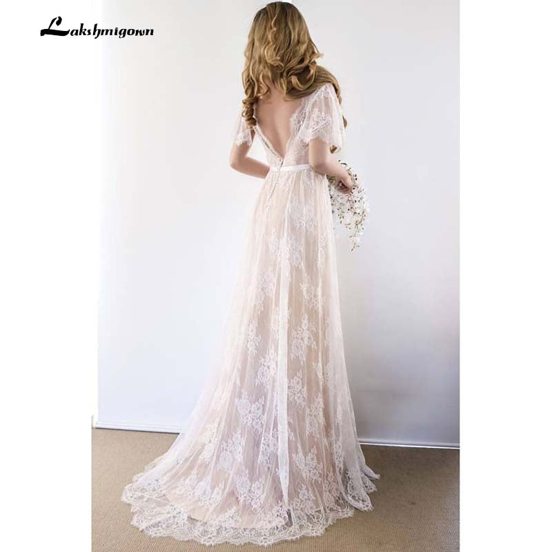 Sexy Open Back Bohemian Country Wedding Dress With Cap Sleeves Lace Ro Borizcustom