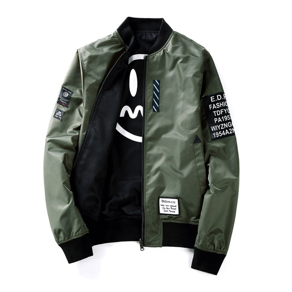 drop ship Suprem Bomber Jacket Men Pilot with Patches Green Both Side Wear Thin Pilot Bomber Jacket Men Wind Breaker Jacket Men