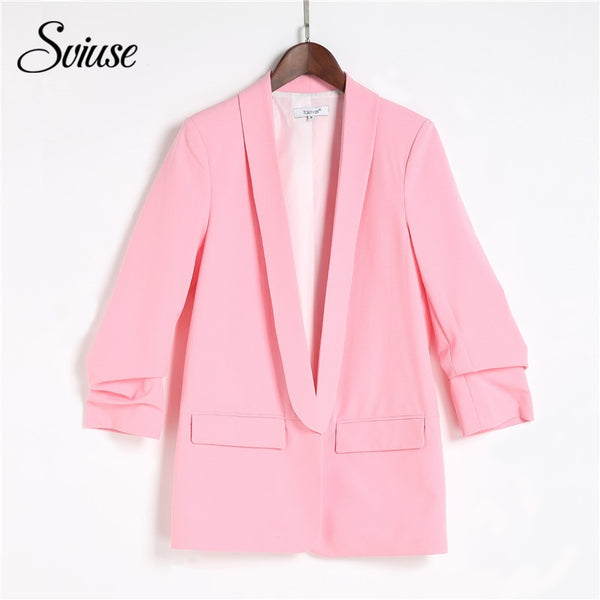 Women Fashion Spring Blazer Pink Green Three Quarter Sleeve Casual Korean Style Jacket Elegant Office Ladies Business Blazer 5XL