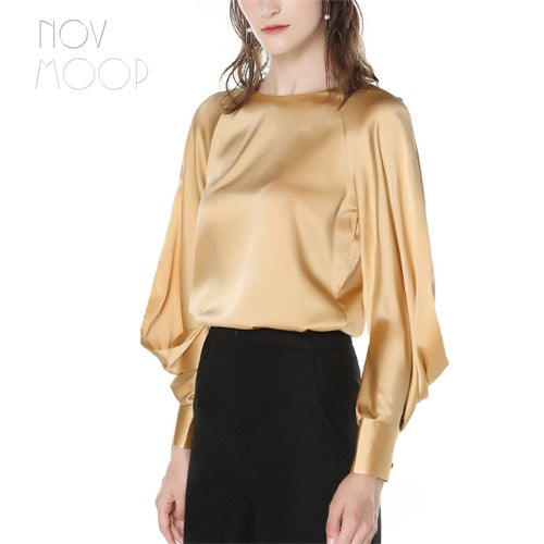 a2f864d68f994 ... Palace style gold vintage ladies natural silk tops and blouses lantern  sleeve satin silk shirt tops