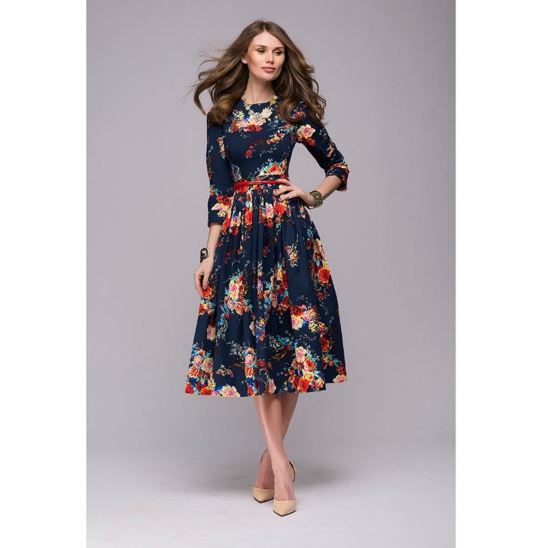 Women casual knee,length dress 2018 new arrival long sleeve printing summer  dress for offical lady Women loose vestidos