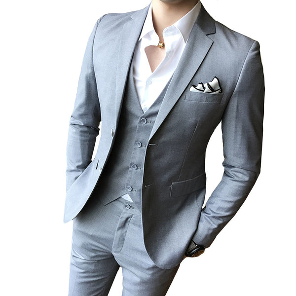 Wedding Dress For Men.Solid Color Slim Fit Male 3 Piece Suits Wedding Dress Men Business Casual Blazer Wedding Prom Dinner Suits Groomsman Wear Tuxedo