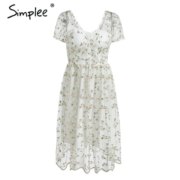 a6f14a7df04 ... Simplee Floral print embroidery white midi dress Elegant v neck short  sleeve summer dress women Sexy