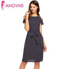 ANGVNS Women Vintage Summer Dress 2018 Top Rufflles Cold Shoulder Short Sleeve Floral Print Casual Dress with Belt Beach Dress