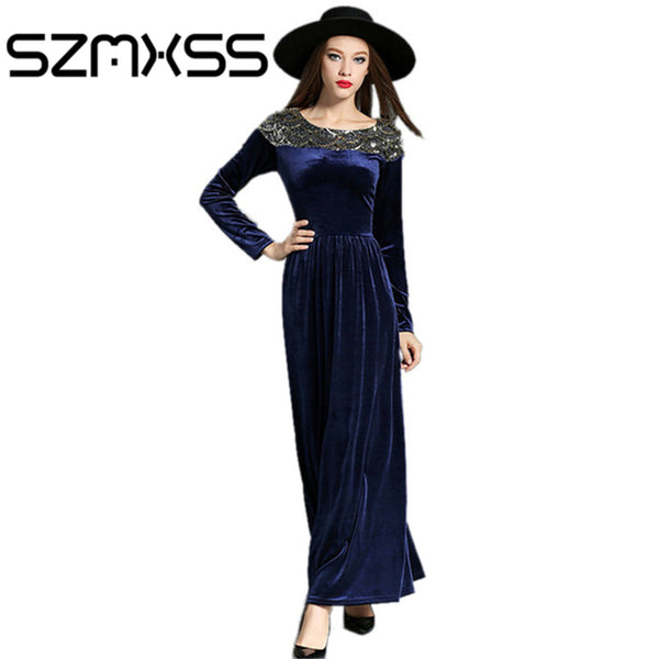 b4fd5e5640a49 2016 Autumn Winter Dresses Women Velvet Dress Long Sleeve Vintage Sequined  Maxi Dresses Evening PartyBlack Blue Vestido Longo
