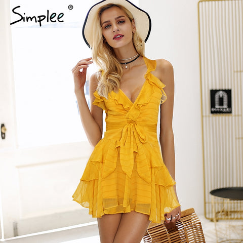 18cce31f23e Simplee Strap v neck cross ruffles white dress women Bow belt casual dress  Sexy backless lace