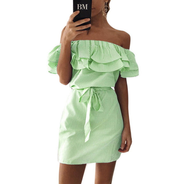 c8e6b28b415 ... CALOFE Women Summer Dress Clubwear Sundresses Sexy Strap Off Shoulder  Lace-up Ruffles Backless Vestidos ...