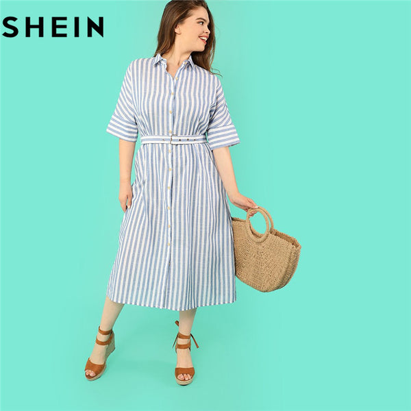 SHEIN Cotton Blue Stripe Batwing Sleeve Straight Plus Size Belted Women  Shirt Dress Turn-down Collar Pinstripe Casual Dresses