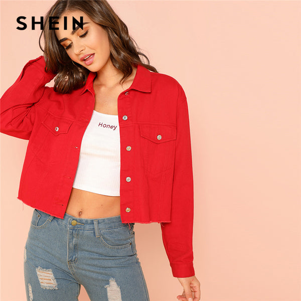 741ae1809b SHEIN Red Solid Pocket Front Button Up Jacket Cotton Casual Plain Long