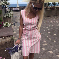 2018 fashion women's Navy blue Pink striped dress casual sleeveless Button shirt dress women Summer Beach Party dress vestidos