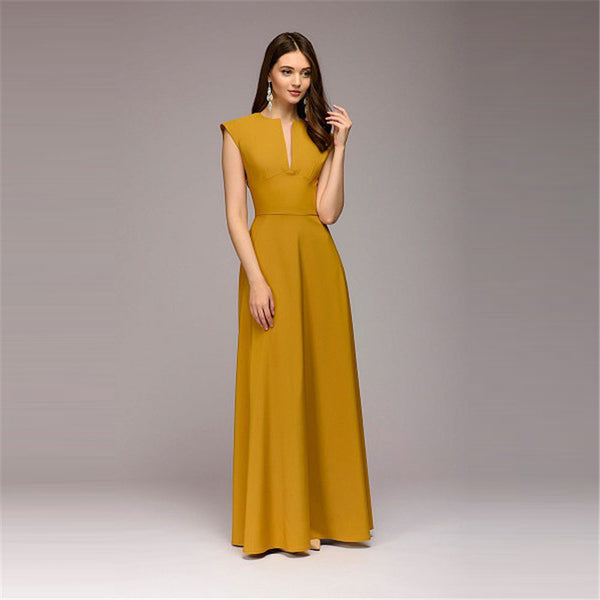 2018 Yellow Dress Women Solid V-neck Casual Dress Women Natural Waist  Floor-length Maxi Dress Straight Plus Size S--4XL