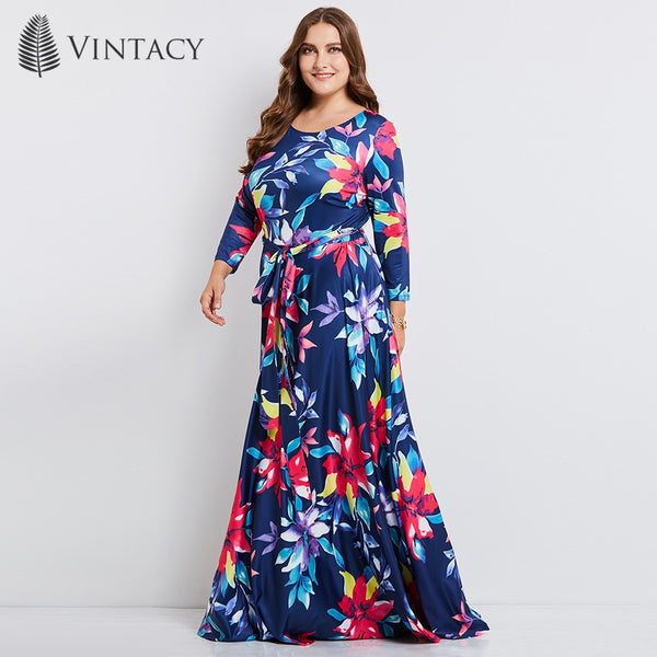 3387163c6d7d01 Women Plus Size Long Dress 4XL 5XL Expansion Round Neck Sashes Dress S