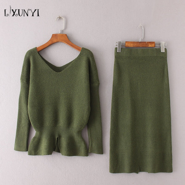 2018 Autumn Winter Knit Skirt Suit Set 2 Piece Women Sweater Pullover+Knee Skirt High Waist Knitted Suit Female Office Wear Sets