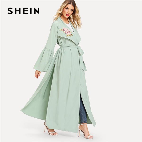 SHEIN Green Floral Embroidered Flounce Sleeve Belted Waterfall Abaya Elegant Appliques Knot Long Sleeve Women Autumn Clothes