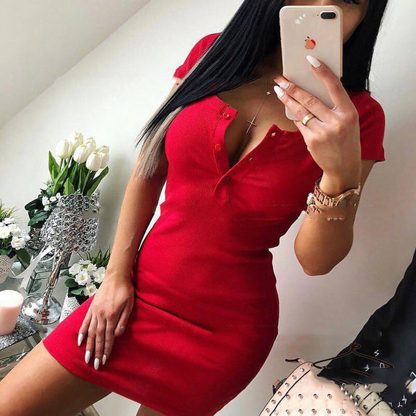 2018 Fashion Summer Women dress Sexy Short Sleeve solid Button Slim Sheath Evening casual Party Bodycon Mini Dresses Vestidos