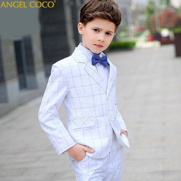 British White Fashion Baby Boys Kids Blazers Boy Suit For Weddings Prom Formal Dress Wedding Boy Suits Enfant Garcon Mariage