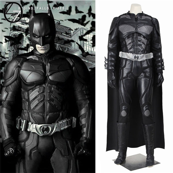 Batman Cosplay Costume Bruce Wayne Cape The Dark Knight Rises Cosplay PU Clothing Superhero Outfit Full Set Adult Men Hallowen