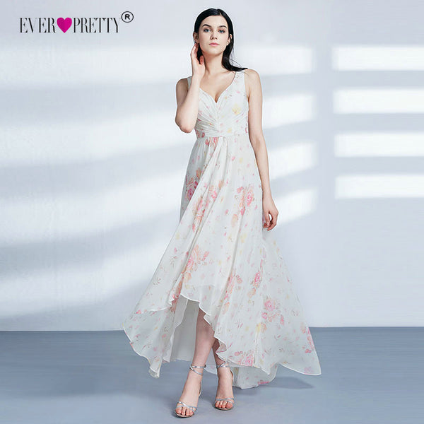 Ever Pretty Bridesmaid Dresses New Elegant Cheap High Low V-neck Irregular Summer Beach Dresses EP07383 Wedding Party Dresses
