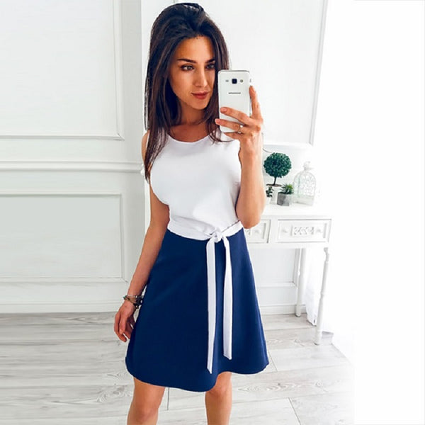 2018 New Summer Dress Fashion Women Casual Cute A-Line Dresses O-Neck Sleeveless Sexy Beach Mini Party Women Dress Vestidos