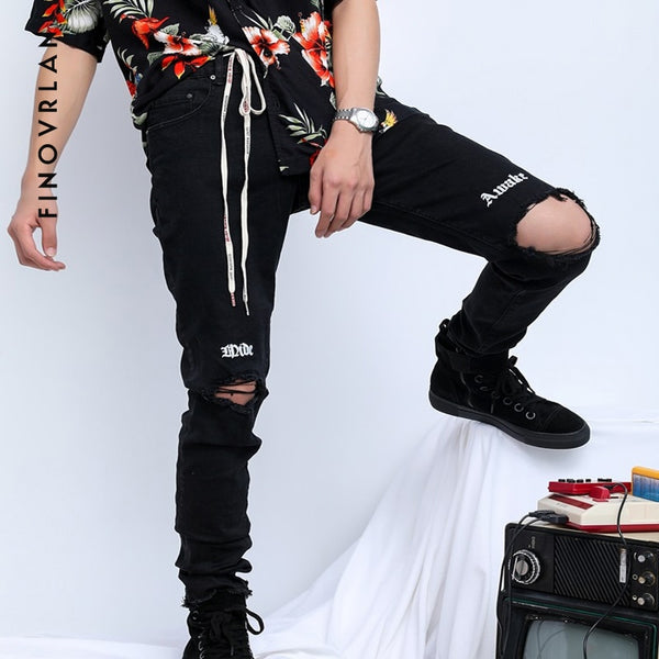 dec74c2addb 2018 Streetwear Black Ripped Jeans Men With Holes Denim Super Skinny h