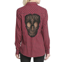 Skull Hollow Out Women Blouses  Plus Size XXXXL Chemise Red Plaid Shirts Long Sleeve Blouse Spring Summer Blusas Mujer Haut Ete