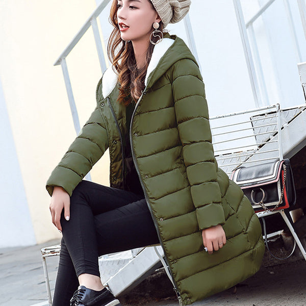 06a9858f5 ... 2018 Winter Jacket Women Plus Size Womens Parkas Thick Outerwear Solid  Hooded Winter Coat Female Slim ...