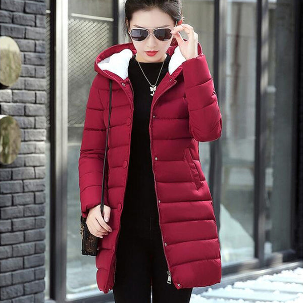 e314cff16 ... 2018 Winter Jacket Women Plus Size Womens Parkas Thick Outerwear Solid  Hooded Winter Coat Female Slim