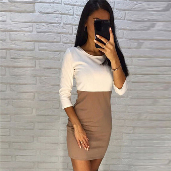 Women Spring Three Quarter Sleeve Straight Dress 2018 New Ladies Autumn 2 Color office work OL Party Club dresses Vestidos