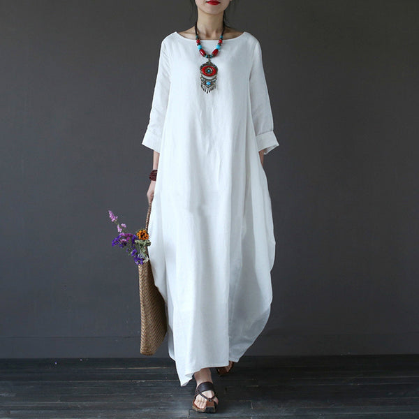 b2d66b7389e drop ship 2018 autumn Plus Size Dresses For Women 5xl Loose Cotton Lin