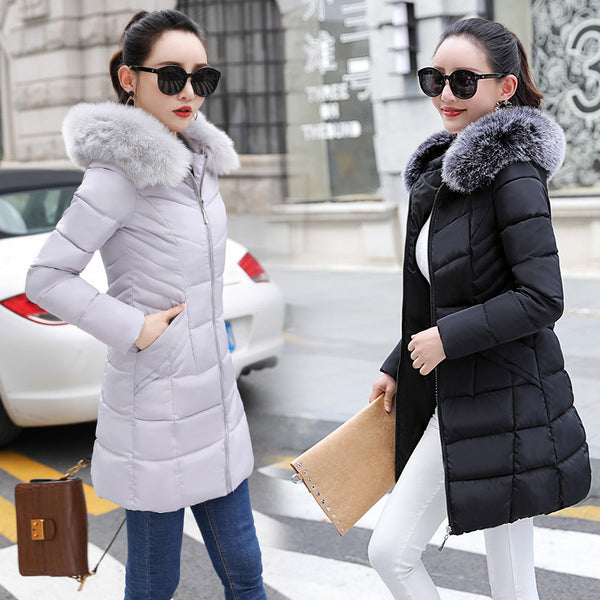 Drop Ship 2018 Winter Jacket Women Fur Hooded Female Jacket Coat Warm Winter Parkas Women Suit for Winter Outwear