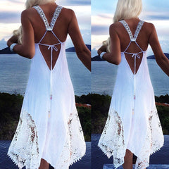 Plus Size Ladies Fashion Women Dress Summer Solid Color Sleeveless Sexy A-Line Beach Lace Crochet Dress