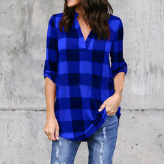 2018 V Neck Long Sleeve Loose Casual Ladies Shirt Blusa Feminina Plus Size 5XL Plaid Print  Summer Women Tops Cotton  Blouse