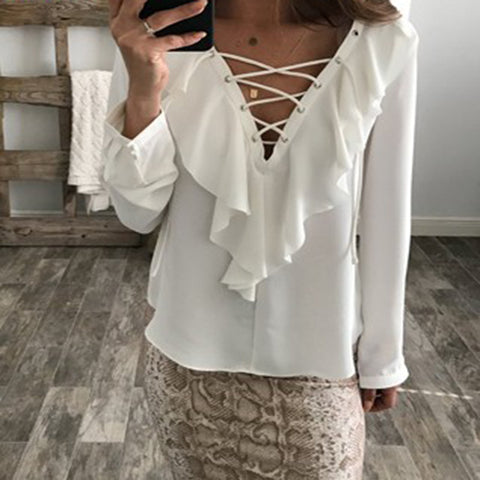 Women Chiffon Blouse 2018 Fashion Summer Sexy Lace Up Blouse V Neck Ruffles Long Sleeve Black White Tops Casual Plus Size Shirts